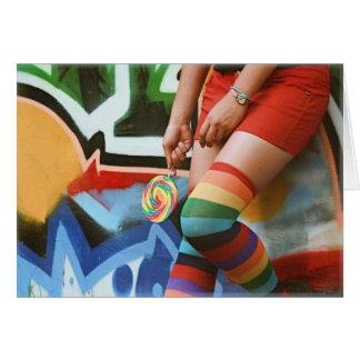 Lollipops y arco iris - tarjeta en blanco