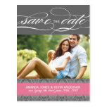 Lolly Pink and Grey Damask Save the Date Post Card