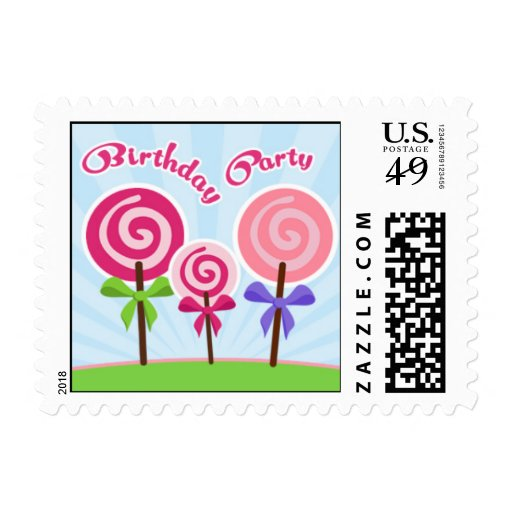 Lollypop Birthday Party Small Postage