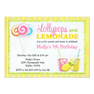 Lollypops and Lemonade Birthday Party Invitation