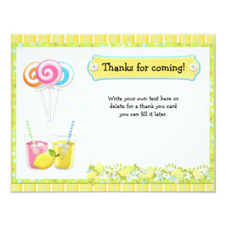 Lollypops and Lemonade Birthday Party Thank You Card