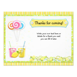 Lollypops and Lemonade Birthday Party Thank You Invites