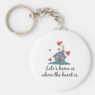 Lolo's Home is Where the Heart is Basic Round Button Keychain