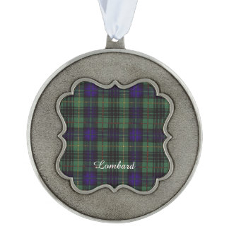 Lombard clan Plaid Scottish kilt tartan Scalloped Pewter Christmas Ornament