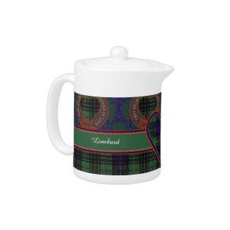Lombard clan Plaid Scottish kilt tartan Teapot