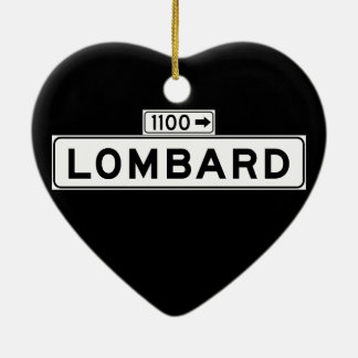 Lombard St., San Francisco Street Sign Double-Sided Heart Ceramic Christmas Ornament
