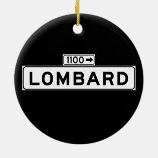 Lombard St., San Francisco Street Sign Double-Sided Ceramic Round Christmas Ornament