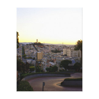 Lombard Street & Coit Tower at Sunrise Stretched Canvas Print