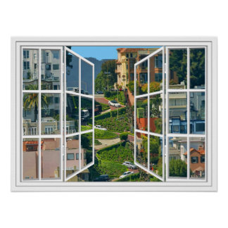 Lombard Street White 24 Pane Open Window Poster