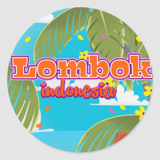 Lombok Island holiday travel poster. Classic Round Sticker