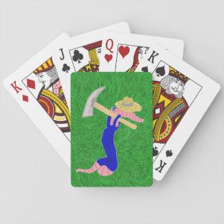 Lombriz de tierra Claude en sus guardapolvos del b Cartas De Póquer