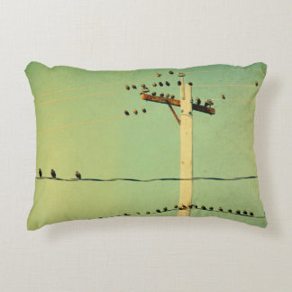 Lomo Green Wired Birds Accent Pillow
