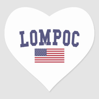 Lompoc US Flag Heart Sticker