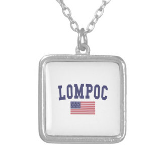 Lompoc US Flag Silver Plated Necklace