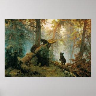 Lona 1889 del vintage de Cubs de oso Ivan Shishkin Póster
