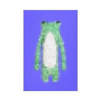 Lona azul linda de la rana del pixel para el sitio impresión en lienzo estirada