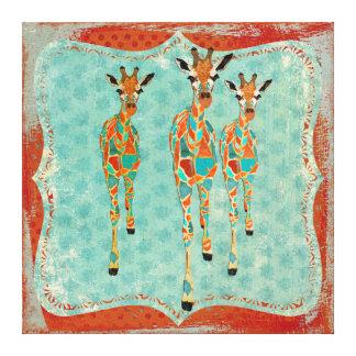 Lona azul y ambarina del vintage de las jirafas impresion de lienzo