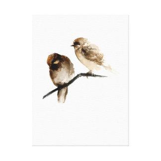 Lona blanca de los pequeños pájaros grises para lo lona envuelta para galerias