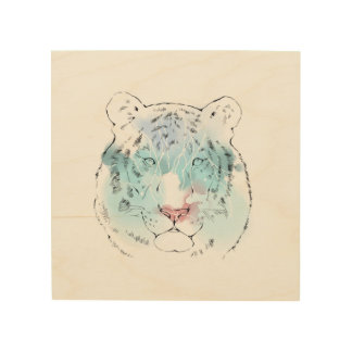 Lona blanca de madera del tigre del Watercolour Impresión En Madera