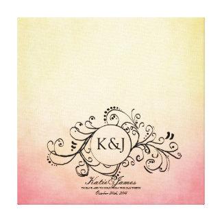 Lona bohemia amarilla y rosada rústica del libro d impresión en lienzo