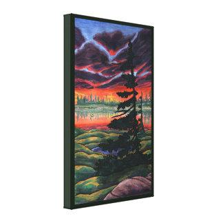 Lona canadiense de la puesta del sol de la pintura impresión en lienzo