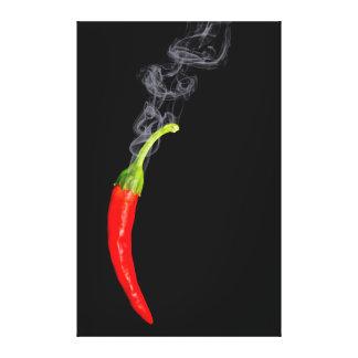 Lona candente de la pimienta de chile que fuma impresión en lienzo