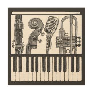 Lona chillona de madera de instrumentos musicales impresiones en madera