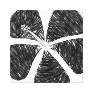 Lona coloreada blanco y negro del hibisco lienzo envuelto para galerias