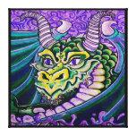 lona (cuadrada) ascendente cercana del dragón impresión en lona