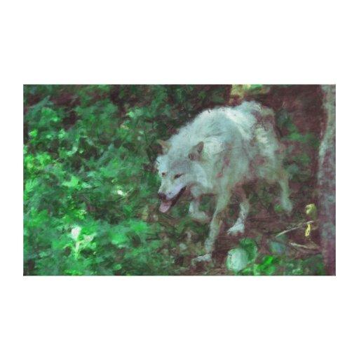 Lona de arte abstracto impresionista de White Wolf Impresiones En Lienzo Estiradas