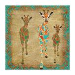 Lona de arte ambarina y azul de las jirafas impresión en lona estirada
