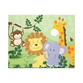Lona de arte animal del cuarto de niños del safari lona estirada galerías
