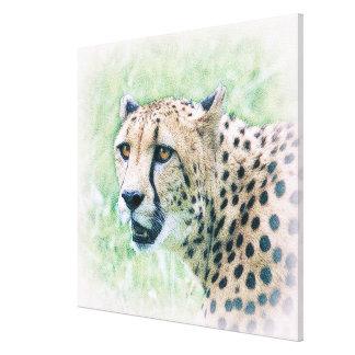 Lona de arte de la fauna del retrato del guepardo impresión en lona estirada