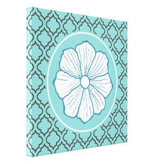 Lona de arte de la flor de la turquesa impresión en lona estirada