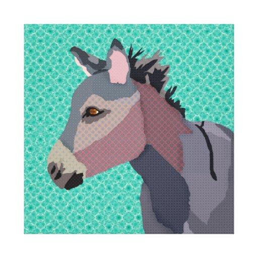 Lona de arte del burro del gris impresion en lona