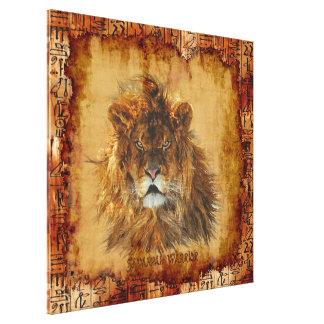 Lona de arte egipcia del Grunge del león africano Lona Envuelta Para Galerias