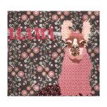 Lona de arte floral de la llama del vintage rosado impresión en lienzo estirada