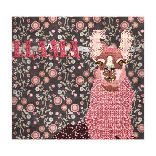 Lona de arte floral de la llama del vintage rosado lona envuelta para galerías