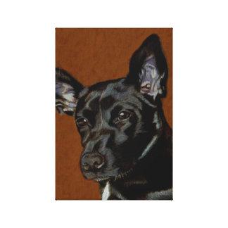 Lona de arte negra adorable del perro de perrito lona envuelta para galerías