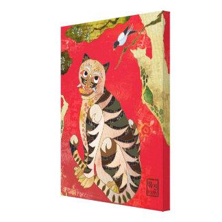 Lona de arte popular coreana de la urraca y del ti impresiones en lona estiradas