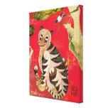 Lona de arte popular coreana de la urraca y del ti impresión en lienzo estirada