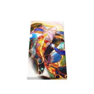 Lona de arte tradicional de los pescados de Koi Impresiones En Lona