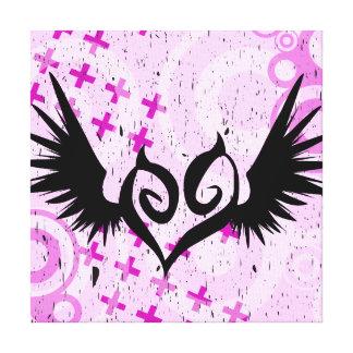 Lona de encargo coa alas punk de la pared del cora lona estirada galerías