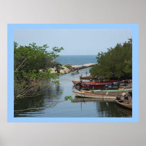 Lona de Jamaica del río de Negril de los barcos de Póster
