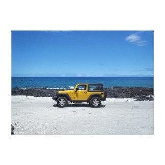 Lona de la aventura del jeep de Hawaii de la playa Impresion En Lona