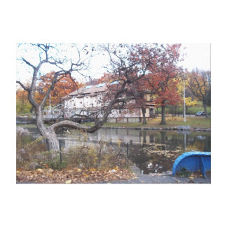 Lona de la charca del parque de Van Cortland Impresión En Tela