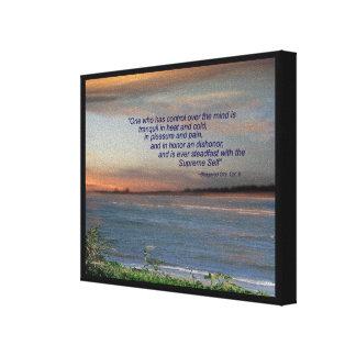 """Lona de la cita de Bhagavad Gita, """"una quién tiene Impresiones En Lona"""
