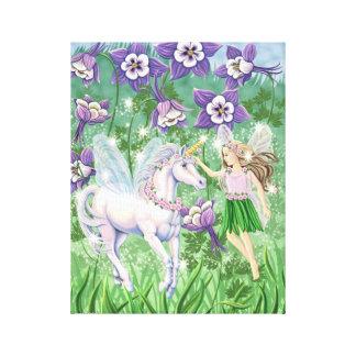 Lona de la hada del unicornio lona envuelta para galerias