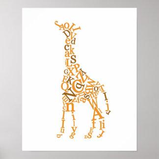 Lona de la jirafa posters