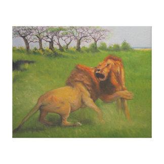 Lona de la lucha del león de la fauna lona envuelta para galerias